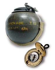 beano grenade and uniform button with hidden compass