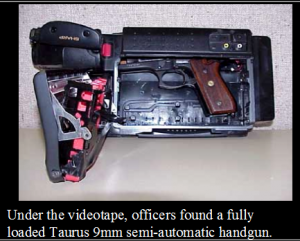 Image of a Video recorder gun safe open